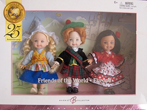 BARBIE Collector KELLY Doll FRIENDS of The WORLD * EUROPE 25th Anniversary Giftset w HOLLAND, SCOTLAND & SPAIN Dolls (2004)