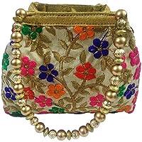 Global Era Women's Potli Bag Multicolor Raw Silk For Women, Girls