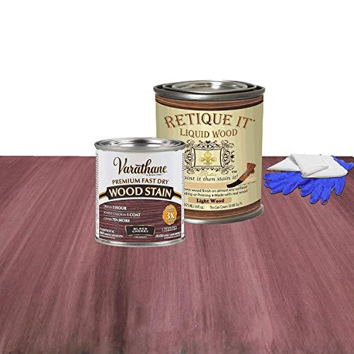 Retique It Liquid Wood - Pint Light Wood with Black Cherry Stain - Stainable Wood Fiber Paint - Put a fresh coat of wood on it (16oz LW, Black Cherry)