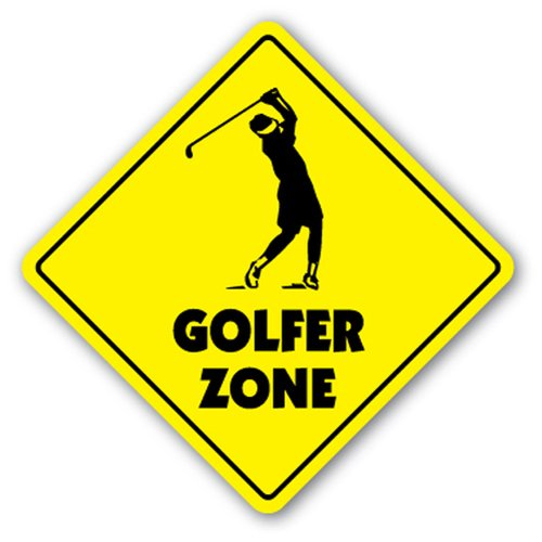 ([SignJoker] GOLFER ZONE Sign new xing golf clubs balls bag gift Wall Plaque Decoration)