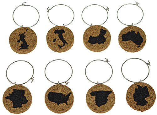 Cork Wine Glass Charms (20+ Unique Designs) - Set of 8 - Engraved Countries on Each Charm: USA, Spain, Germany, France, Australia, China, Italy and Britain - Tags to Mark Your Drink (Countries)