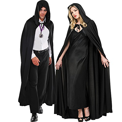 Amscan Black Hooded Cape Halloween Costume Accessories for Adults, One Size]()