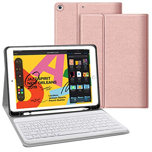JUQITECH iPad 7th Generation Case with Keyboard for iPad 10.2 2019 7th Gen Keyboard Case with Pencil Holder