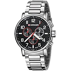 Wenger Attitude Chrono Sapphire Crystal Men's Watch with Stainless Steel Bracelet and Quartz Movement