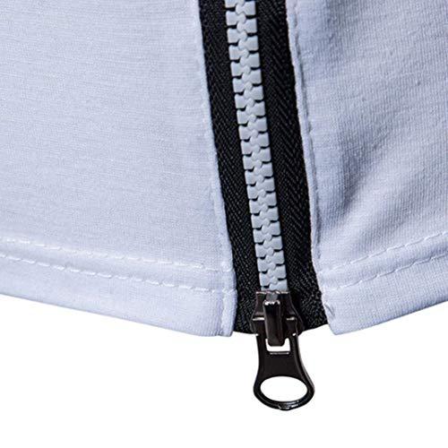 Blanco Slim Zipper Sólido Corta Sudadera Fit Shirt Redondo Sport Muscle De Top Blouse Tee Cómodo Camiseta Undershirts Manga Hombre Fitness Cuello Color 1EwqvxF