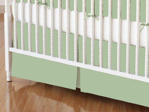 (SheetWorld - Crib Skirt (28 x 52) - Flannel - Sage - Made In)