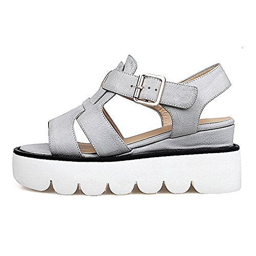 Heels Gray PU Toe Women's Kitten Solid Sandals Metal WeenFashion Open Uf46wxqOq