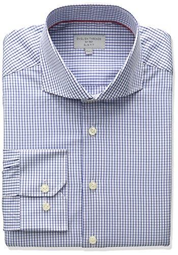 Cutaway Collar Fitted Shirt - English Threads Men's Slim Fit Mini Check Dress Shirt, Blue, 16.5