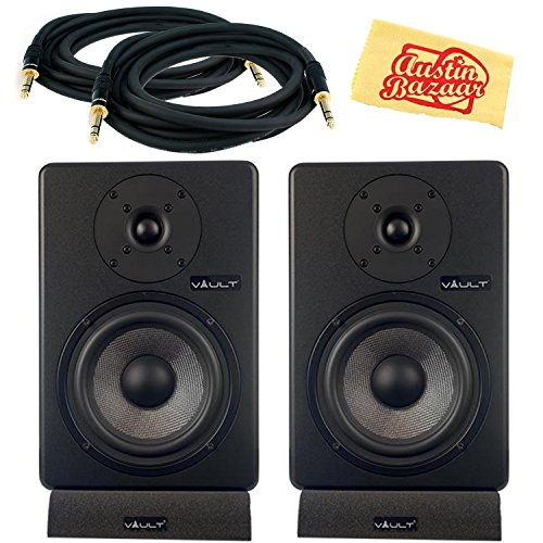 - Vault C6 Powered Studio Reference Monitor Pair Bundle with Two Monitors, Cables, and Austin Bazaar Polishing Cloth