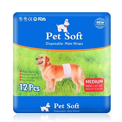 sey pet Disposable Male Wrap Dog Diaper, 12Pcs, XS-M (M), White