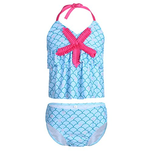 nable Mermaid Ruffle 3D Starfish Shells Printed Tankini Swimsuit Set Light Blue 9-10 (Ruffle Printed Shell)
