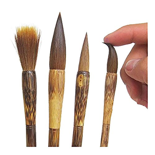 Lilith li Chinese High-Grade Exquisite Writing Brush Watercolor Chinese Calligraphy Sumi Painting Drawing Brushes Hair Doubled Both Brush (Brown)