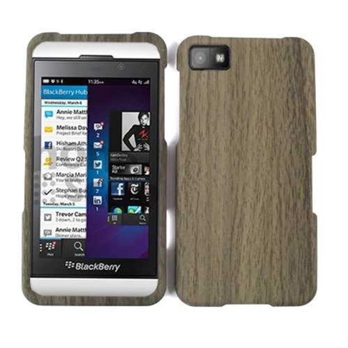 (SMOOTH FINISH COVER FOR BLACKBERRY Z10 CASE FACEPLATE HARD PLASTIC DARK WOOD PATERN TE386 CELL PHONE ACCESSORY)