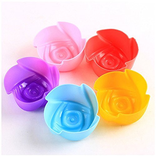 Zehui Silicone Rose Shape Cupcake Chocolate Jello Muffin Ice Cube Mold Maker Mode Color Random 10 pcs