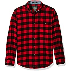 Woolrich Men's Trout Run Flannel Shirt, Old Red Buffalo