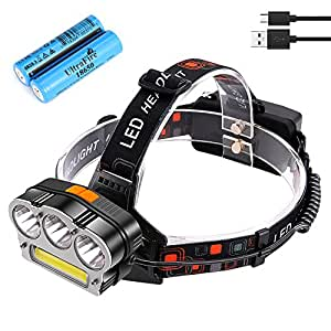 UltraFire Brightest 18650 Headlamp 1000 Lumen, USB Rechargeable, 7 Lighting Modes, White & Red Light LED Headlight Flashlight, IPX6 Water Resistant. Great for Hunting, Camping, Hiking & More