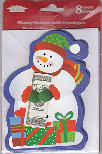 Money Card Holders with Envelopes - 8 Count by Christmas House (Snowman)