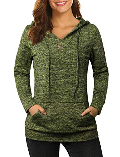 KASCLINO Pullover Hoodies,Women's Sweatshirts Pullover Long Sleeves with Vintage Button Embellished Tops Fluorescent Green M ()