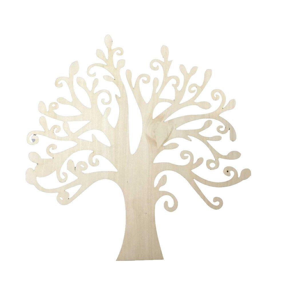 10pcs Wooden Tree Embellishments for Crafts 12.5cm RICISUNG
