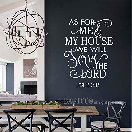 BATTOO As for me and My House Wall Decal Serve The Lord Wall Decal Christian Vinyl Decal Joshua 24:15 Bible Verse, 30