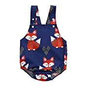 SMALLE Clearance Toddler Baby Fox Floral Printed Sleeveless Vest Backless Romper Jumpsuit (6-9M, Navy)