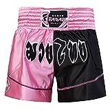Muay Thai Boxing Kick Boxing Martial Arts Shorts Pink Black Shorts (XS)