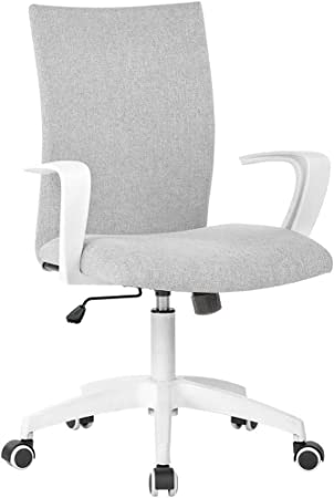 Amazon Com Office Desk Chair With Arms And Adjustable Height Home Computer Task Chair For Work Space Grey White Furniture Decor
