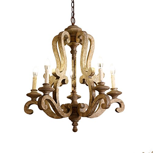 (Lovedima Cottage Style Distressed Wood 5-Light Candelabra Chandelier with Scrolled Arms & Rust Canopy (Brown) )