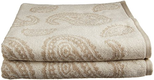 Superior Collection Luxurious Paisley 100% Premium Combed Cotton 2-Piece Bath Towel Set, Tan