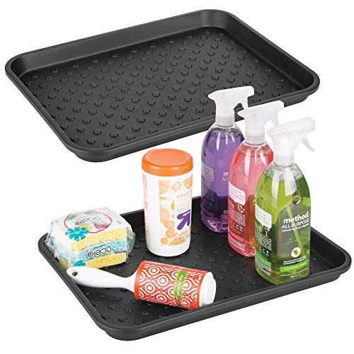 - InterDesign Under the Sink Drip Protector Tray for Kitchen Cabinet, Bathroom, Entryways – Pack of 2, Black