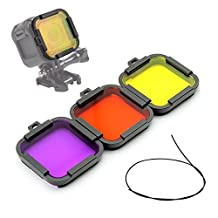 First2savvv Diving Switchable Lens Filter Kit For GOPRO Hero5 Session Hero4 Session: Purple, Yellow, red