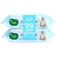 Mother Sparsh 99% Pure Water (Unscented) baby wipes I Natural Plant made cloth - Super thick I 72 pcs/pack - Pack of 2 (Super Saver Pack)