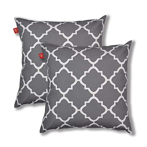 PacifiCasual Decoration Throw Pillow Covers Square Toss Pillow Case Gray and White Quatrefoil 18 x 18 Inch for Indoor and Outdoor Patio Furniture, Set of ()