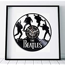 Kovides The Beatles Room Wall Art Rock Music Band Art Lp Retro Vinyl Record Wall Clock Large Handmade Art The Beatles Clock Birthday Gift Idea for Fan Wall Clock Vintage Rock Music Gift