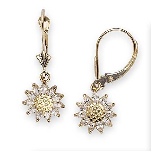 14k Yellow Gold CZ Sunflower Drop Leverback Earrings - Measures 26x10mm - JewelryWeb (Sunflower 14k Gold Yellow)