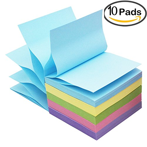 LinQuick Pop-Up Sticky Notes 3''x3'',10 Pads/Pack,100Sheets/Pad 1000Sheets Individual Package (Warm Colors)