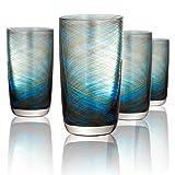 Artland Misty Highball Glass, Set of 4, 15 oz, Aqua