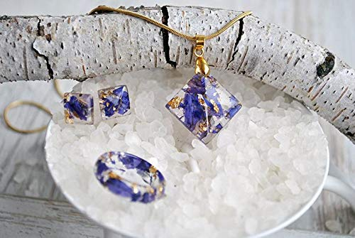 Nature Earrings Resin Earrings with Blue Larkspur and 24K Gold Real Flower Earrings.