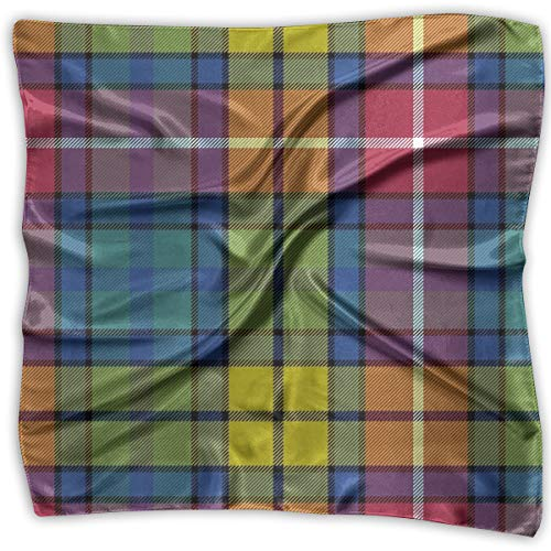 Square Satin Scarf Buchanan Ancient Tartan Silk Like Lightweight Bandanas Head Wrap Neck Shawl Headscarf