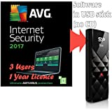Bundle AVG Protection 2017 for 3 Users / Computers 1 Year Licence ( Internet Security Antivirus Software, supplied in 8GB USB Stick, Windows 10, 8, 7 Compatible)