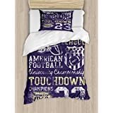 Ambesonne Sports Duvet Cover Set Twin Size, Retro Style American Football College Theme Illustration Athletic Championship Apparel, Decorative 2 Piece Bedding Set with 1 Pillow Sham, Purple