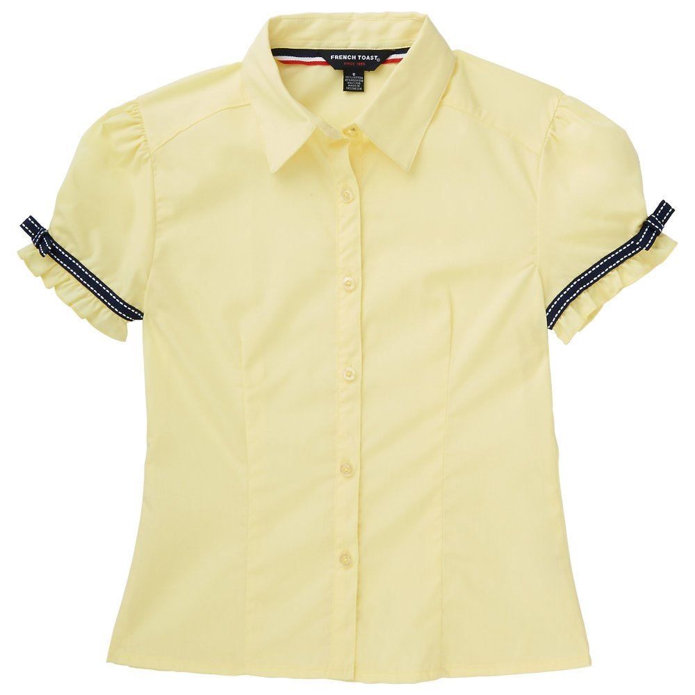 French Toast Big Girls' Short Sleeve Ribbon Bow Blouse, Yellow, 7