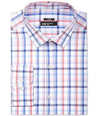 Bar III Men's Slim-Fit Coral Blue Check Dress Shirt
