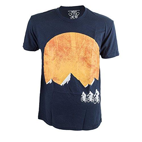 Sunset Green T-shirt (Clockwork Gears Men's Sunset Ride Cycling T-Shirt, Navy,)