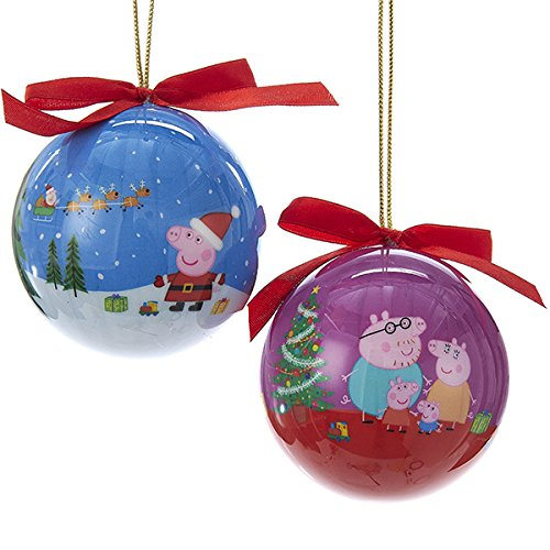 Disney Christmas Balls - Kurt Adler 80 MM 2 Assorted Blue And Purple Peppa Pig Daddy And George Decoupage Christmas Ball Ornaments