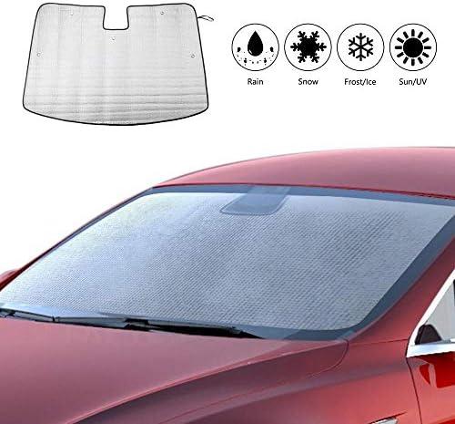Volwco Tesla Model 3 Auto Sonnenschutz Frontscheibe Faltbare Sommer Windschutzscheiben Abdeckung Auto Sonnenblende Für Baby Kinder Hunde Auto