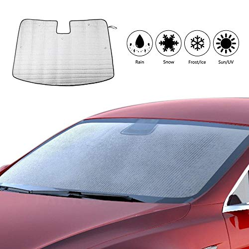 - Baiwka Windshield Sun Shade - Foldable Car Front Window Sunshade for Tesla Model 3, Uv Sun Visor Heat and Sun Reflector Protection Blocker