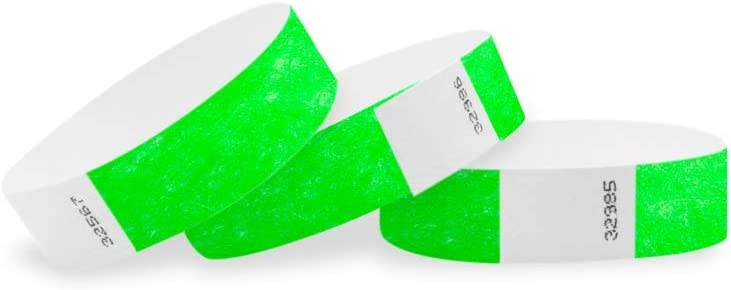 "WristCo Neon Green 3/4"" Tyvek Wristbands - 500 Pack Paper Wristbands For Events"