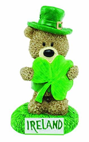 Carrolls Irish Gifts Paddy Bear Resin Ornament with Paddy Holding a Shamrock and Ireland Wording