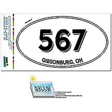 Graphics and More Area Code Euro Oval Window Bumper Laminated Sticker 567 Ohio OH Ada - Willard - Gibsonburg